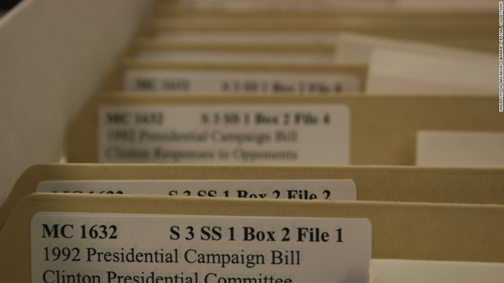 Blair's documents were donated to the University of Arkansas after her death in 2000. The Blair collection had 109 boxes of carefully collected documents, each with up to 20 folders in them -- 16 of the boxes contained material on the Clintons.