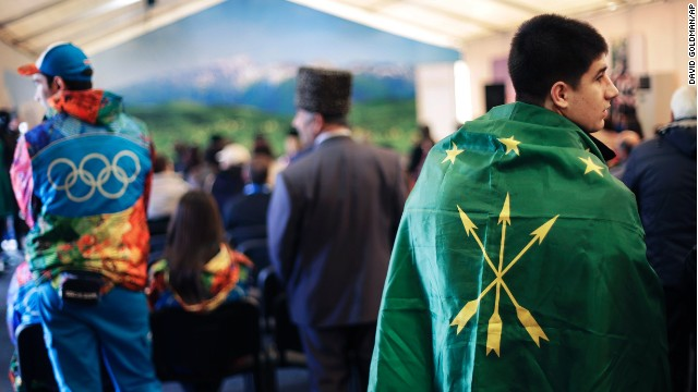 People attend a folk theater troupe performance at the Circassian House on February 14, 2014.