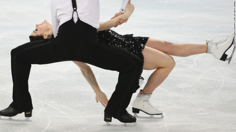 Canada's Scott Moir and Tessa Virtue compete during the ice dancing event on February 16.