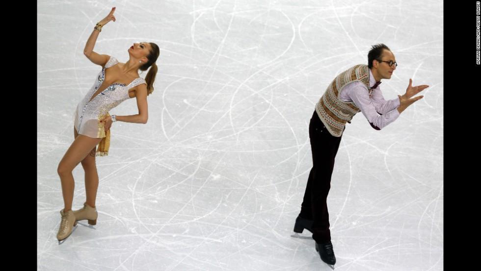 German ice dancers Nelli Zhiganshina and Alexander Gazsi perform on February 16.