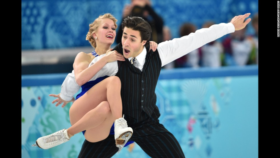 Canadian ice dancers Kaitlyn Weaver and Andrew Poje perform on February 16.