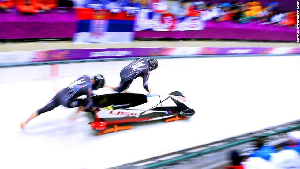 Americans Steven Holcomb and Steven Langton compete in the two-man bobsledding event on February 16.