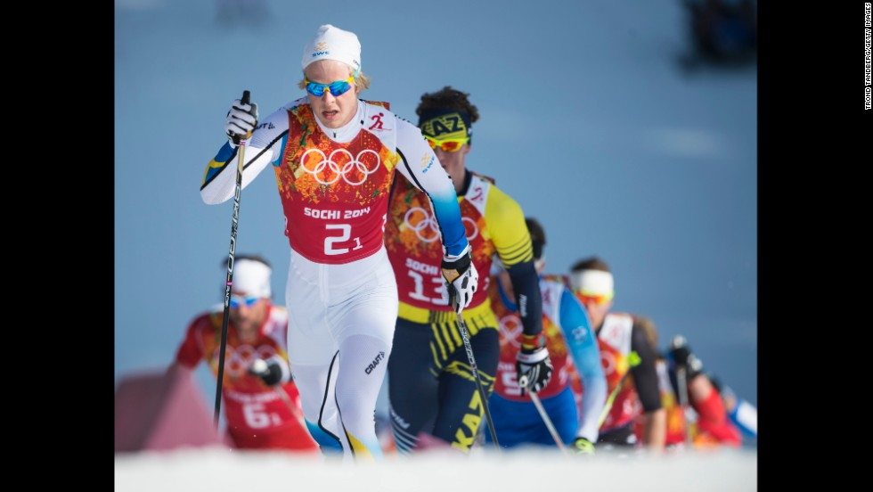 Lars Nelson of Sweden leads the way to gold in the men's cross-country relay February 16.