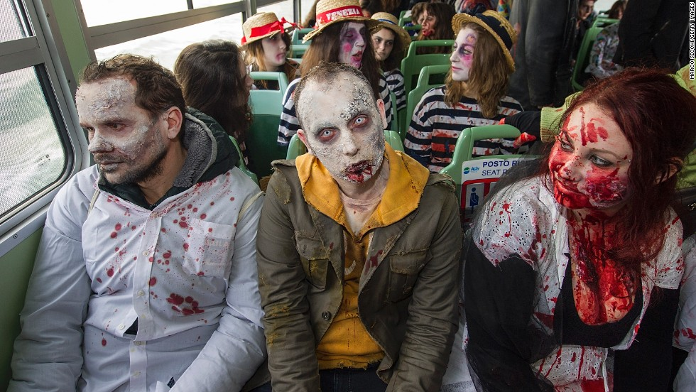 Zombies ride a water bus in Venice.