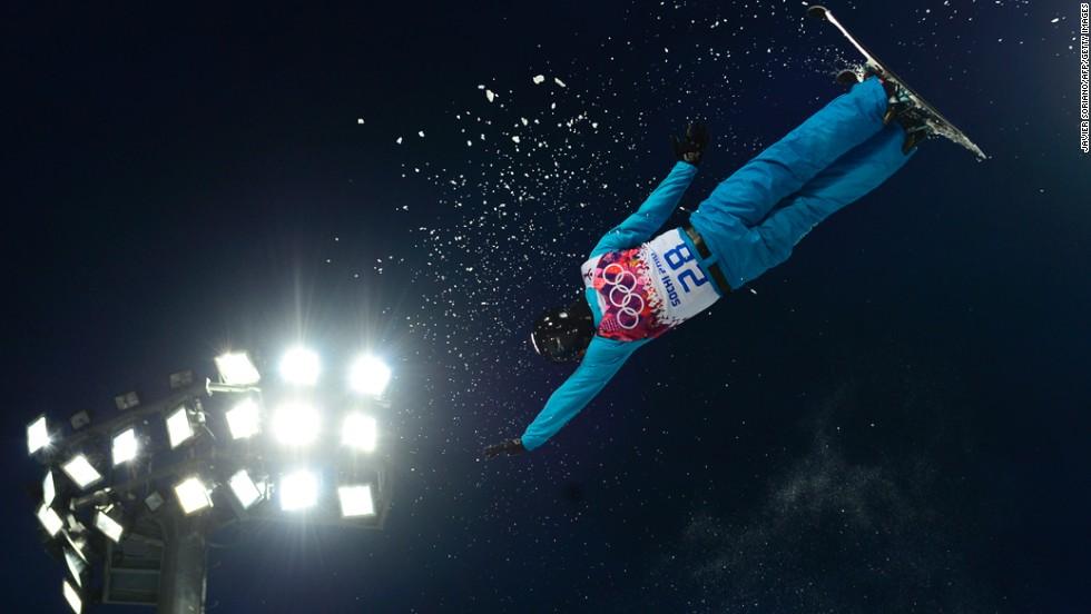 Kazakhstan's Baglan Inkarbek competes in the men's aerials on February 17.