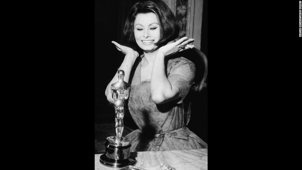 "Sophia Loren reacts after winning best actress for the film ""La Ciociara."""
