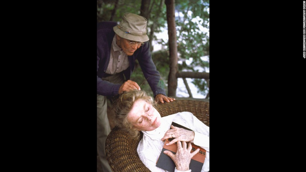 """Henry Fonda and Katharine Hepburn appear in a scene from """"On Golden Pond,"""" which won Hepburn her fourth Oscar for best actress."""