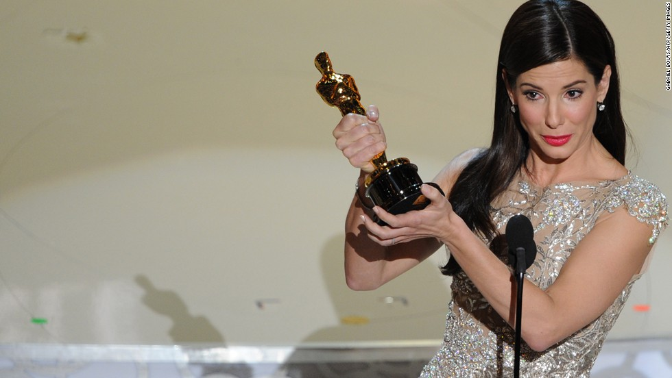 "Best actress Sandra Bullock gives her acceptance speech after winning for ""The Blind Side."""