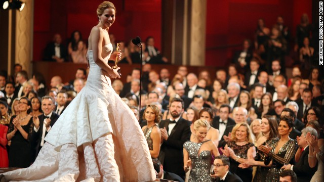 HOLLYWOOD, CA - FEBRUARY 24:  Jennifer Lawrence onstage after winning the award for Actress in a Leading Role during the Oscars held at the Dolby Theatre on February 24, 2013 in Hollywood, California.  (Photo by Christopher Polk/Getty Images)