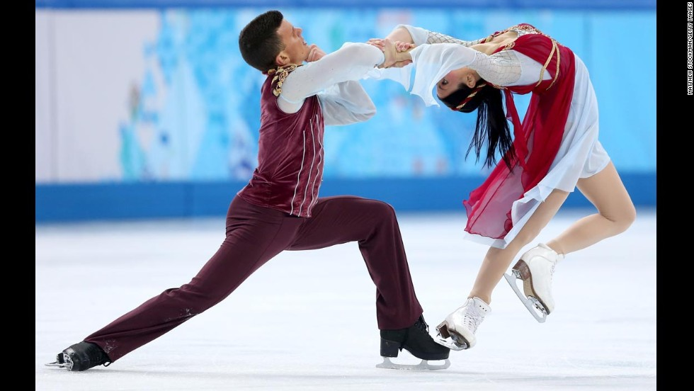 Ice dancers Charlene Guignard and Marco Fabbri of Italy compete on February 17.