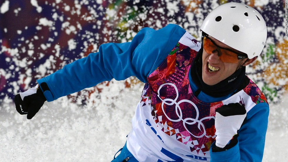 Belarus' Anton Kushnir celebrates in the men's aerials on February 17.