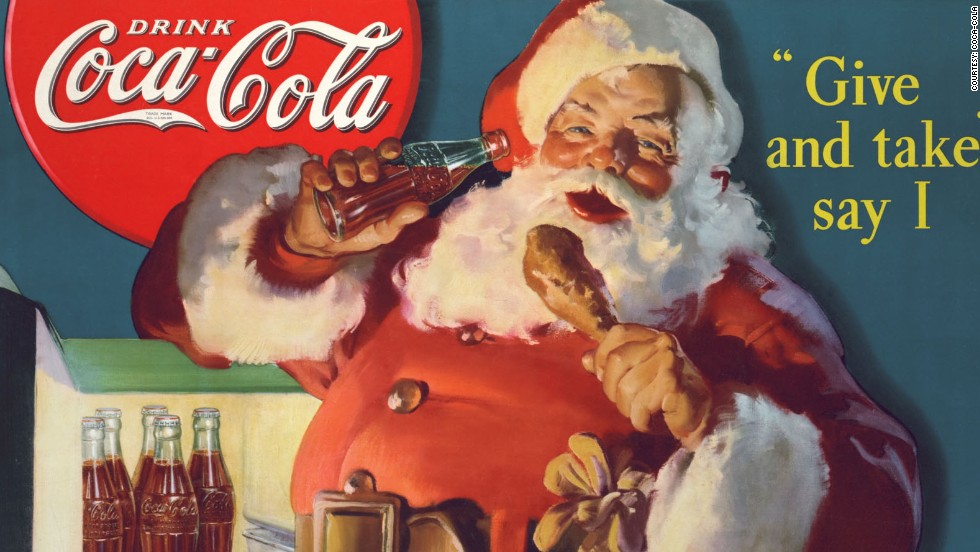 Have you heard the one about Santa Claus wearing red coat because of Coca-Cola ad? Well, according to the company, this is a myth. Before the Coca‑Cola Santa was even created, St Nick had appeared in numerous illustrations and written descriptions wearing a scarlet coat. This 1937 advert shows Santa Claus raiding the refrigerator.