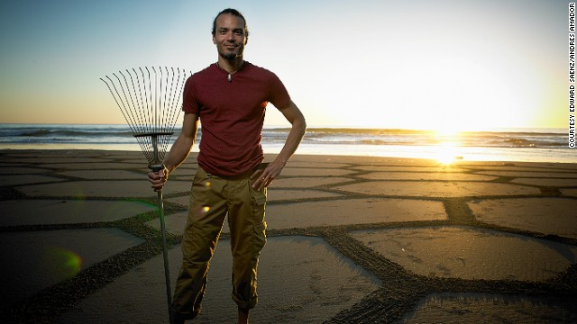 Former computer technician Andres Amador now builds natural homes and creates artwork on beaches.