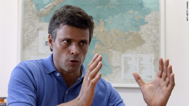Venezuelan opposition leader Leopoldo Lopez, a former mayor of one of Caracas' five districts, talks during an exclusive interview with AFP in Caracas on February 11, 2014.
