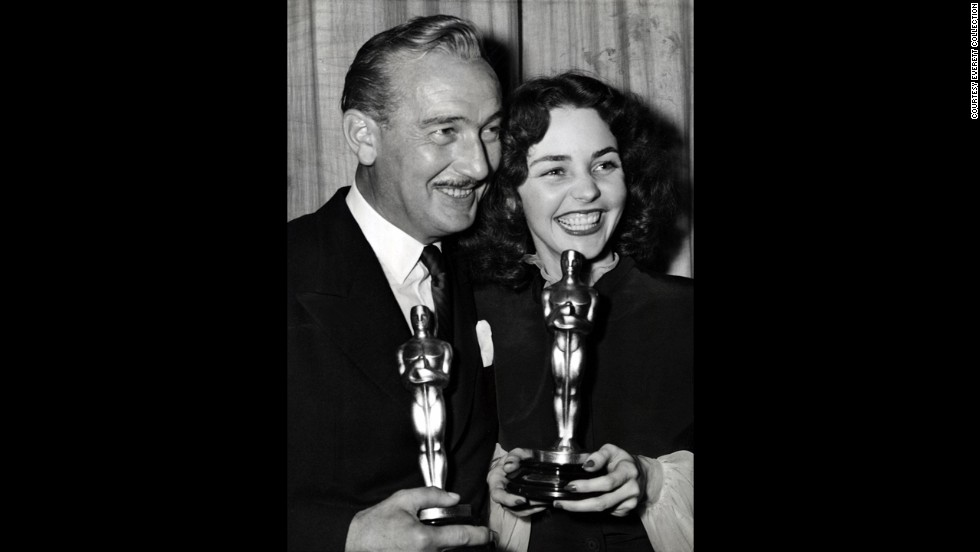 "Character actor Paul Lukas faced stiff competition from stars Humphrey Bogart (""Casablanca"") and Gary Cooper (""For Whom the Bell Tolls""), but he was able to take home the Oscar for ""Watch on the Rhine."" Lukas and best actress winner Jennifer Jones celebrate at the ceremony held in 1944."