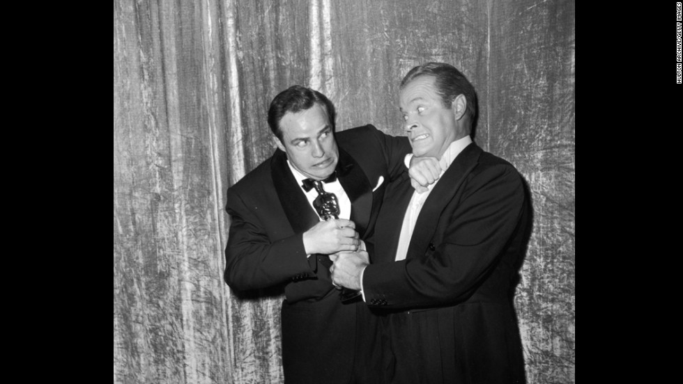 "Oscars host Bob Hope, right, might have tried, but there was no way Marlon Brando was parting with his best actor award at the 1955 ceremony. Brando had lost three years in a row before then, but the actor's luck finally changed with ""On the Waterfront."""