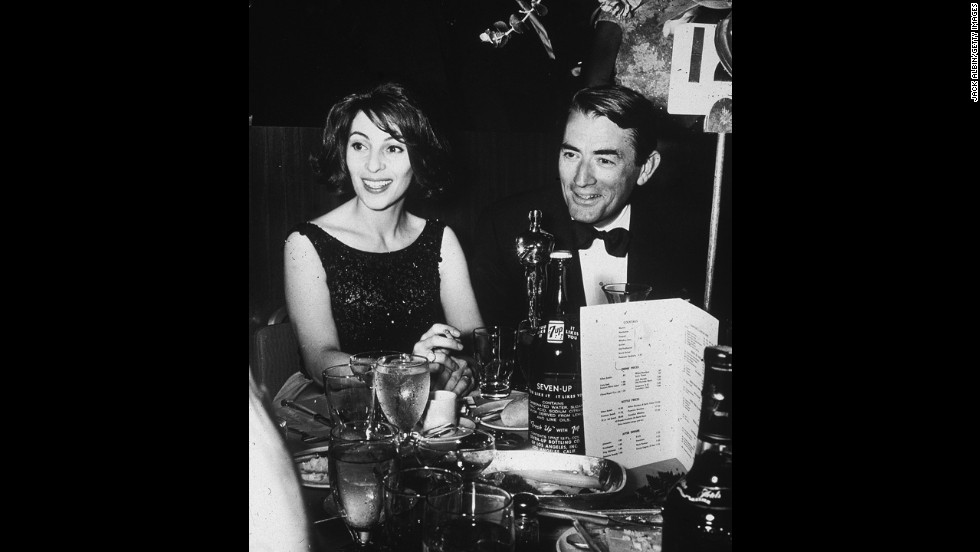 "Gregory Peck's performance as lawyer Atticus Finch in the film of Harper Lee's novel, ""To Kill a Mockingbird,"" was a standout to academy voters. He beat out some stiff competition for best actor: Peter O'Toole for ""Lawrence of Arabia"" and Burt Lancaster for ""Birdman of Alcatraz."" Here Peck and his wife, Veronique, attend an Oscar after-party in 1963."
