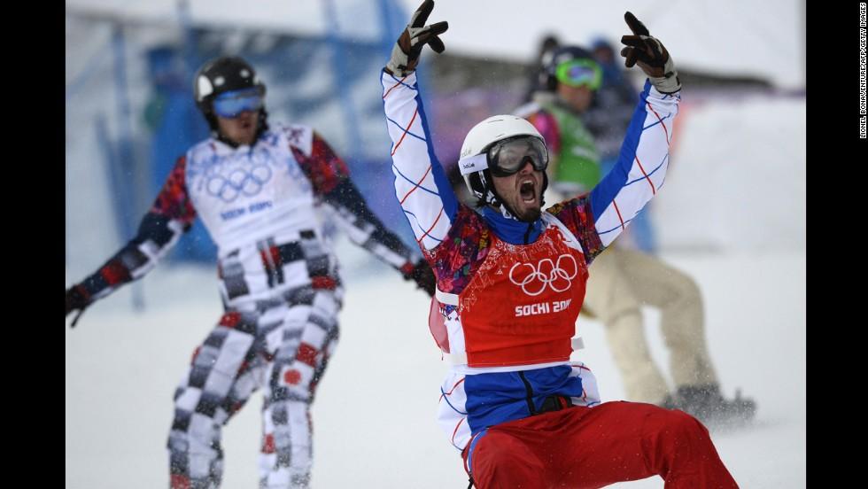 France's Pierre Vaultier celebrates winning the men's snowboard cross final on February 18.