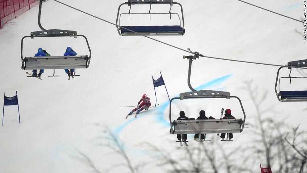 Switzerland's Dominique Gisin skis in the women's giant slalom on February 18.