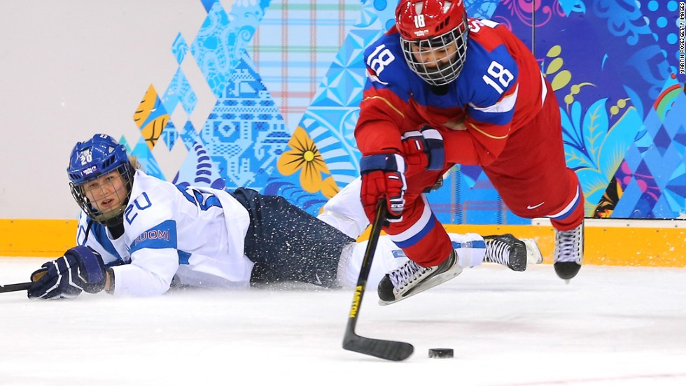 Olga Sosina of Russia handles the puck during a women's hockey game February 18 versus Finland.