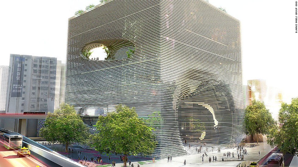 "Danish architect Bjarke Ingels proposed this large cube for the <a href=""http://www.big.dk/#projects-tek"" target=""_blank"">Technology, Entertainment & Knowledge Centre (TEK)</a> in Taipei. Its various holes are actually entry points and vantage points for pedestrians who can snake through the building on an internal staircase, which leads from ground floor to rooftop garden."