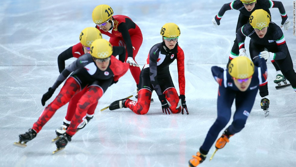 Short track speedskaters compete in the 3,000-meter relay on February 18.