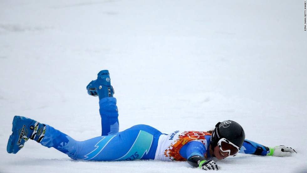 Tina Maze of Slovenia reacts after a run in the women's giant slalom on February 18.