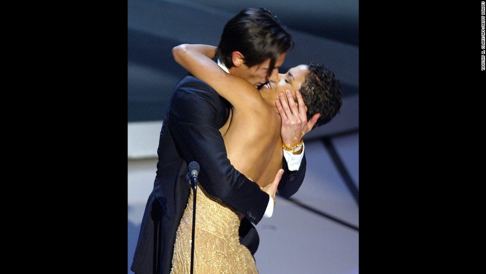 "It was a once in a lifetime opportunity and Adrien Brody knew it. When he wins the best actor Oscar for his role in ""The Pianist"" in 2003, Brody grabs presenter Halle Berry for a massive kiss seen the world round. Viewers are already surprised enough that Brody beat out Jack Nicholson, who was up for ""About Schmidt."""