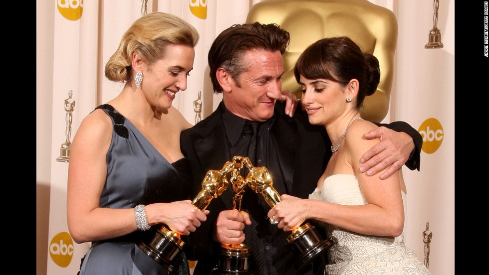 "Sean Penn, here with best actress Kate Winslet, left, and best supporting actress Penelope Cruz, gave the performance of a lifetime as openly gay politician and activist Harvey Milk in ""Milk."" The academy rewarded Penn with his second best actor Oscar at the 2009 ceremony."
