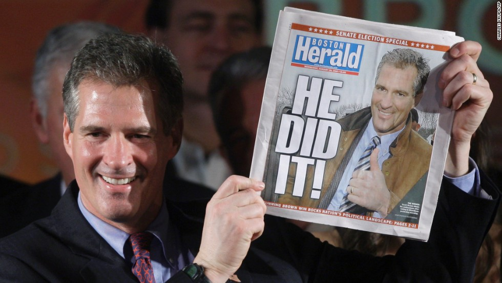 State Sen. Scott Brown holds a copy of the Boston Herald noting his victory in a special election in January 2010 to fill out the remainder of the late Ted Kennedy's term in the U.S. Senate.