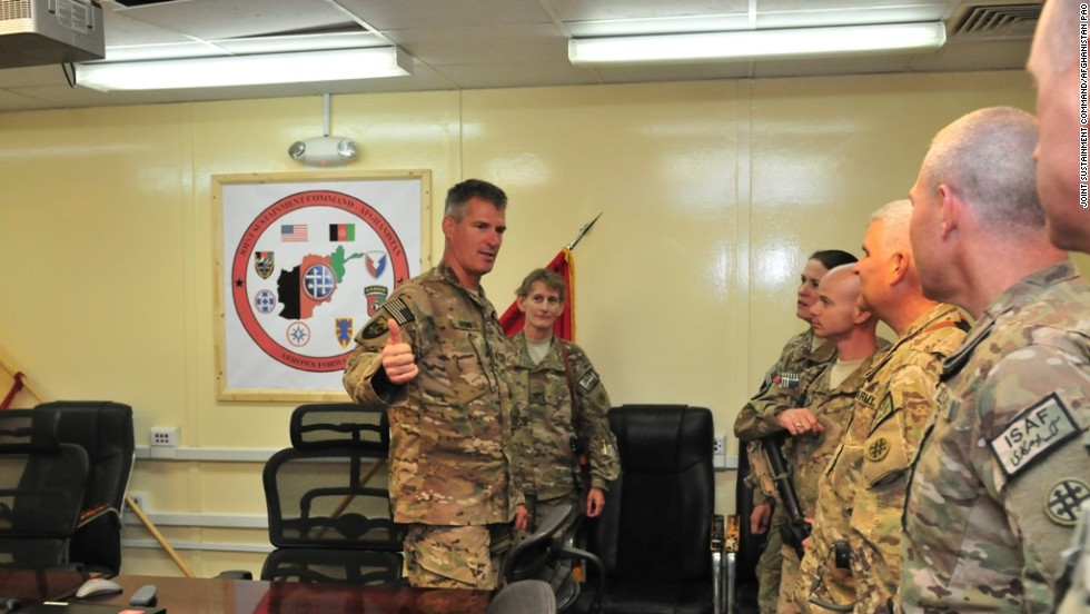 U.S. Sen. Scott Brown is seen here performing his duties as lieutenant colonel in the Army National Guard. He is meeting with troops from Massachusetts stationed in Afghanistan.