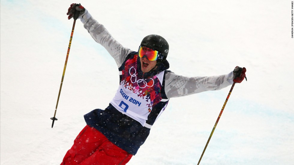 David Wise, an American freestyle skier, celebrates after his first run in the men's halfpipe finals on Tuesday, February 18.