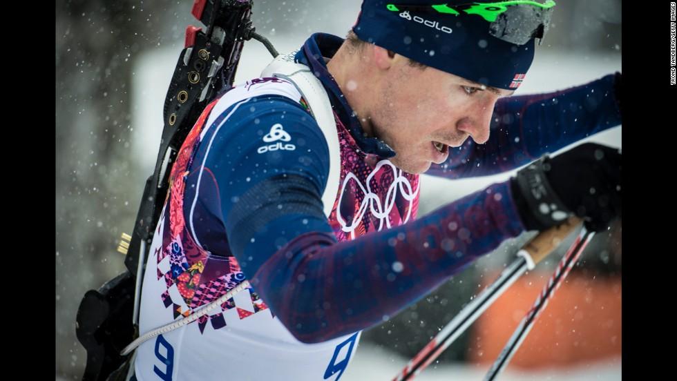 Norwegian biathlete Emil Hegle Svendsen competes in the men's 15-kilometer mass start event on February 18.
