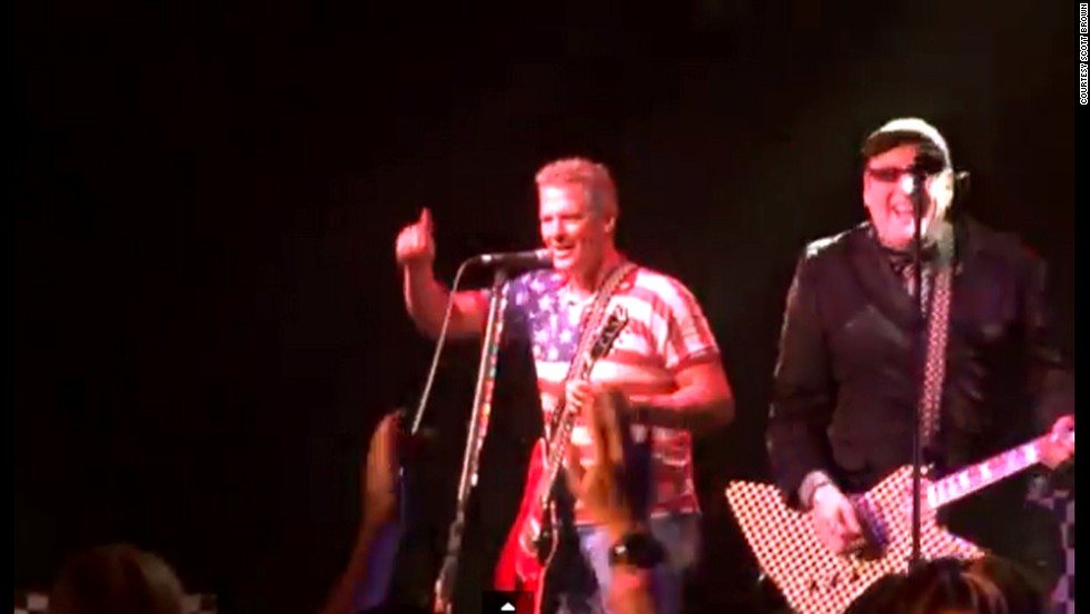 "Former Sen. Scott Brown jams with ""Cheap Trick"" in February 2014 in Lynn, Massachusetts. The former Bay State lawmaker has moved to New Hampshire and is considering a challenge to Democratic Sen. Jeanne Shaheen."