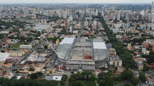 An aerial view of the Arena da Baixada taken in December displays the work that remains outstanding ahead of June's finals.