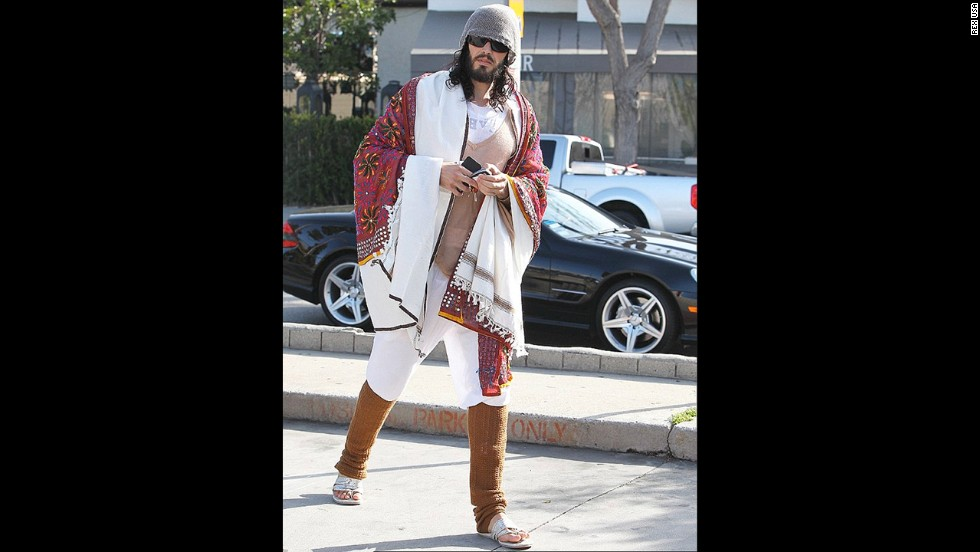 Actor Russell Brand wears legwarmers, a shawl and knit layers while out and about -- not even at his house or a yoga studio.