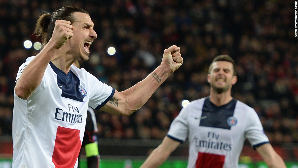 Zlatan Ibrahimovic continued his fine form this season with two more goals as Paris Saint-Germain brushed aside Bayer Leverkusen 4-0 in Germany to put one foot in the quarterfinals.