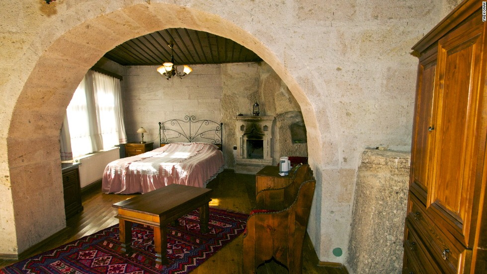 Carved into the hillside, Taskonak Hotel in Cappadocia, Turkey, is part of a region so unusual that it's a UNESCO World Heritage listing. Five of the 10 rooms are cave suites.