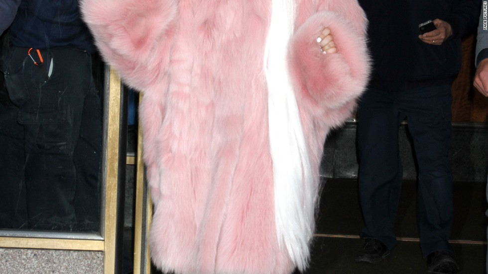 Lady Gaga stays glamorous and warm all at the same time while in New York on February 18.