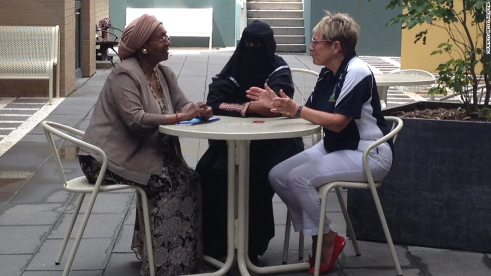 Ayan sits with Edna Adan Ismail to her left, and Noela Phillips, chair of the Rotary Ayan Project organizing committee to her right, as they discuss her surgery set for February 22, 2014.