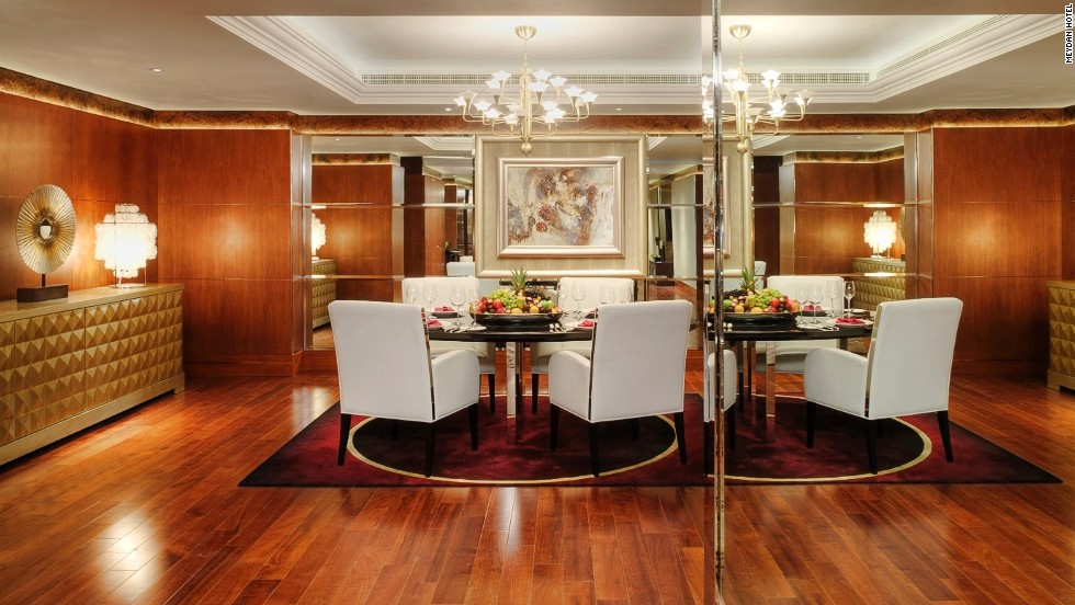 The Presidential Duplex Suite has 370 square meters of space and spans two levels.