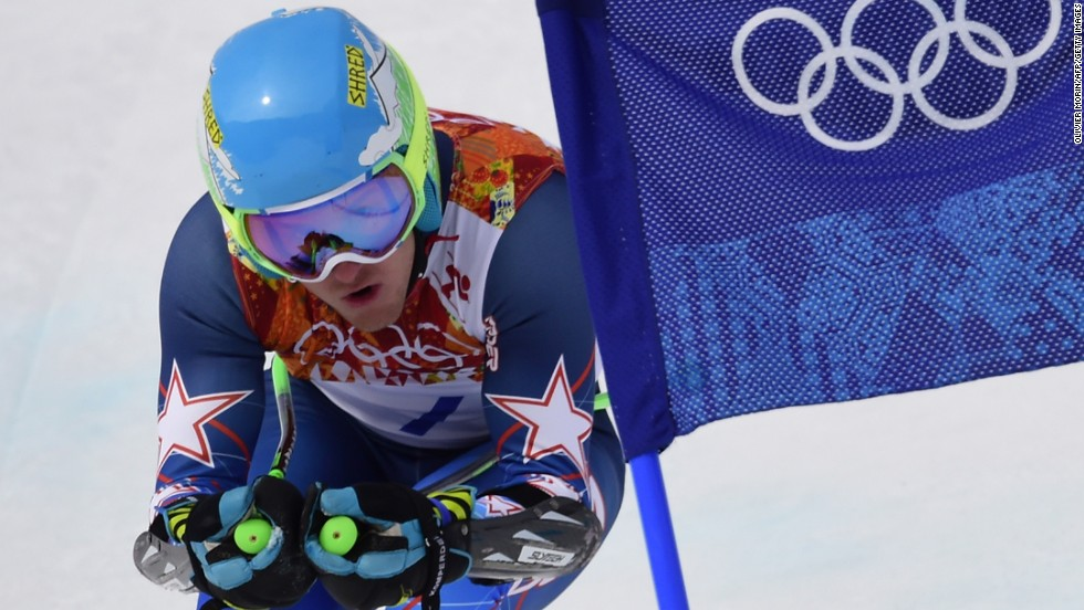 U.S. skier Ted Ligety competes in the men's giant slalom on February 19.