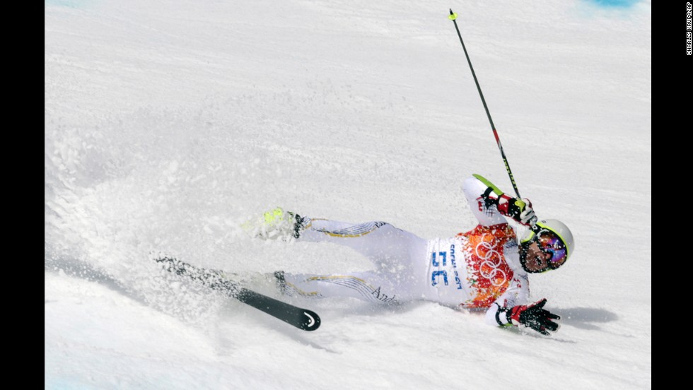 Andorra's Joan Verdu Sanchez crashes in the first run of the men's giant slalom.