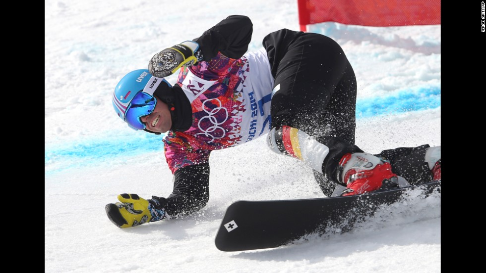 German snowboarder Patrick Bussler competes in the parallel giant slalom on February 19.