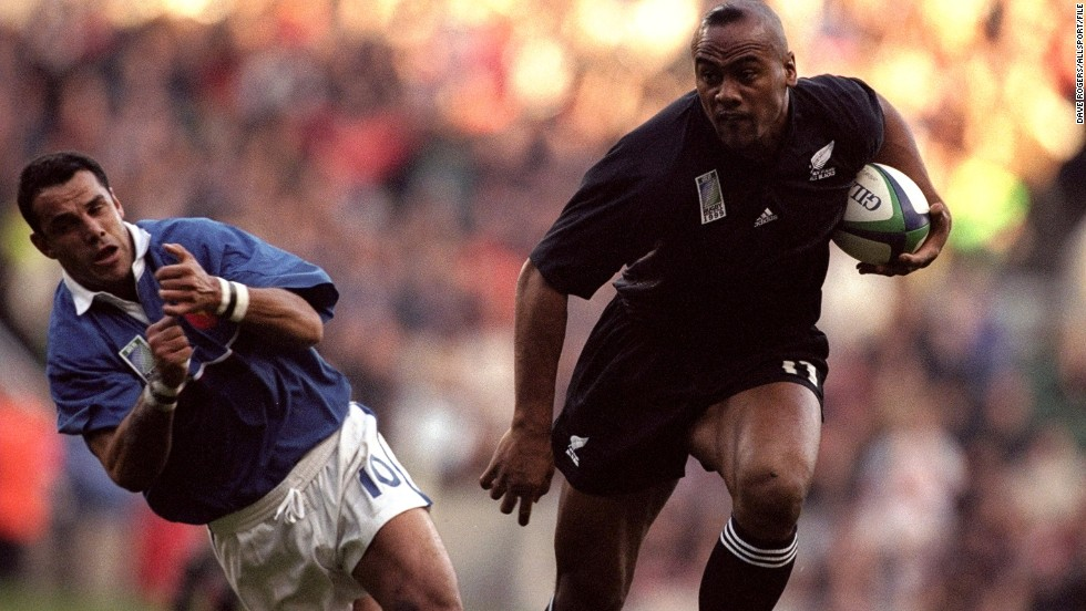 During the mid-1990s and early 2000s, Lomu terrorized opposition defenses, leaving players dazed and confused. Here, France flyhalf Christophe Lamaison is brushed aside during a compelling World Cup semifinal match at Twickenham, England in 1999.