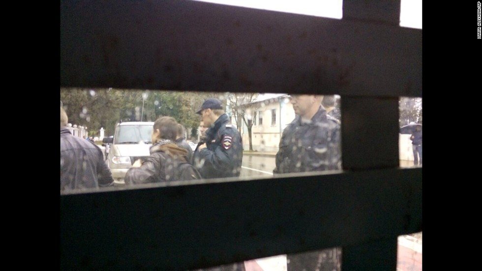 This photo, provided by Alyokhina, was taken from inside a police vehicle after she was detained on February 18.