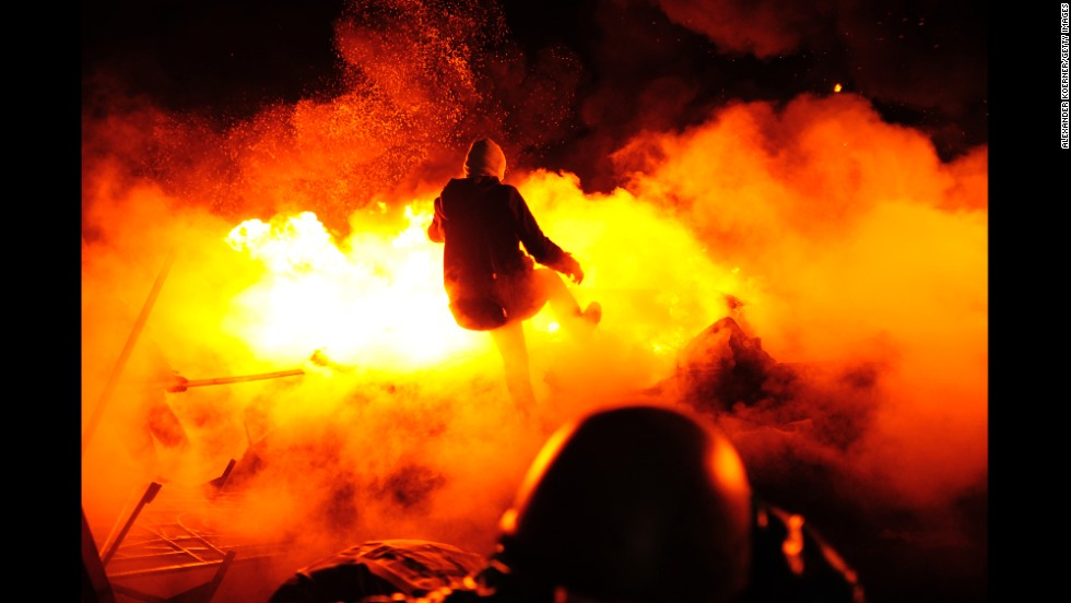 Protesters in Kiev, Ukraine, clash with police in Independence Square on Wednesday, February 19. Thousands of anti-government demonstrators have packed the square since November, when President Viktor Yanukovych reversed a decision on a trade deal with the European Union and instead turned toward Russia.
