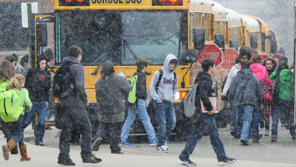 Students from Henderson County, Kentucky, headed to buses after an early dismissal due to weather on February 4. Around the state, several districts held school on President's Day, while others cut back on planned days off.