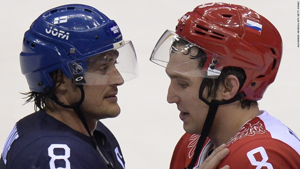 Russian ice hockey star Alexander Ovechkin (R) was left distraught following his team's quarterfinal defeat by Finland at the Winter Olympics in Sochi on Wednesday.