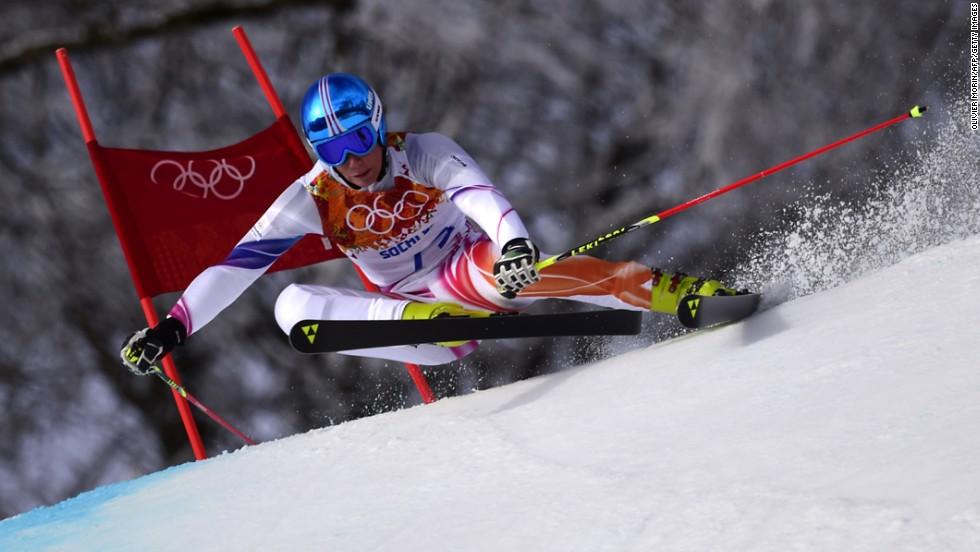 Liechtenstein skier Marco Pfiffner competes in the men's giant slalom on February 19.